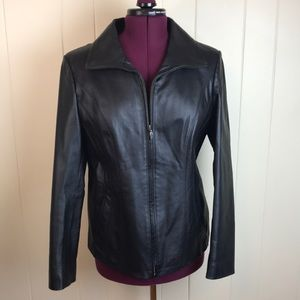 East 5th Black Zip Front Leather Jacket